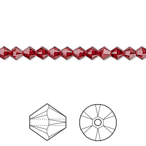 bead, swarovski crystals, crystal passions, scarlet, 4mm xilion bicone (5328). sold per pkg of 144 (1 gross).
