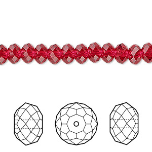 bead, swarovski crystals, crystal passions, scarlet, 6x4mm faceted rondelle (5040). sold per pkg of 12.