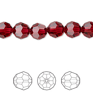 bead, swarovski crystals, crystal passions, scarlet, 8mm faceted round (5000). sold per pkg of 12.