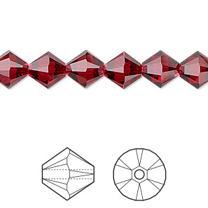 bead, swarovski crystals, crystal passions, scarlet, 8mm xilion bicone (5328). sold per pkg of 12.
