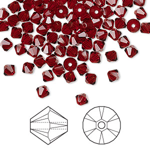 bead, swarovski crystals, crystal passions, siam, 4mm xilion bicone (5328). sold per pkg of 144 (1 gross).
