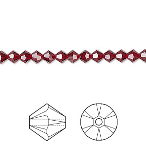 bead, swarovski crystals, crystal passions, siam, 4mm xilion bicone (5328). sold per pkg of 48.
