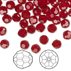bead, swarovski crystals, crystal passions, siam, 6mm faceted round (5000). sold per pkg of 144 (1 gross).