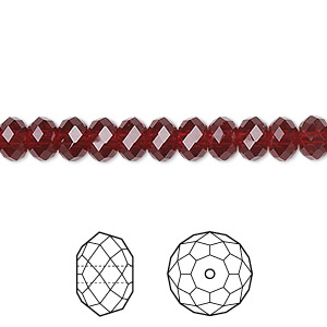 bead, swarovski crystals, crystal passions, siam, 6x4mm faceted rondelle (5040). sold per pkg of 144 (1 gross).