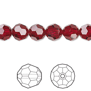 bead, swarovski crystals, crystal passions, siam, 8mm faceted round (5000). sold per pkg of 12.
