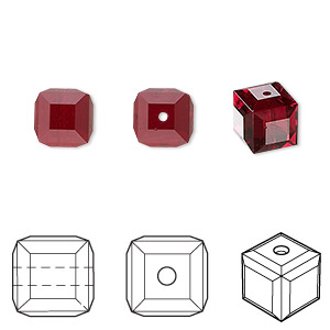 bead, swarovski crystals, crystal passions, siam, 8x8mm faceted cube (5601). sold per pkg of 48.