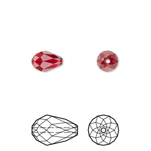 bead, swarovski crystals, crystal passions, siam, 9x6mm faceted teardrop (5500). sold per pkg of 24.