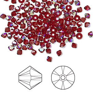 bead, swarovski crystals, crystal passions, siam ab, 3mm xilion bicone (5328). sold per pkg of 144 (1 gross).