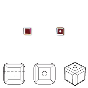 bead, swarovski crystals, crystal passions, siam ab, 4x4mm faceted cube (5601). sold per pkg of 12.