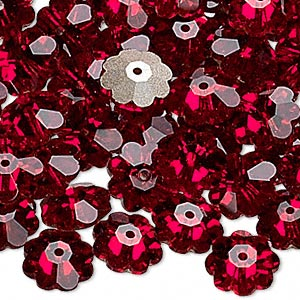 bead, swarovski crystals, crystal passions, siam, foil back, 10x3.5mm faceted marguerite lochrose flower (3700). sold per pkg of 144 (1 gross).