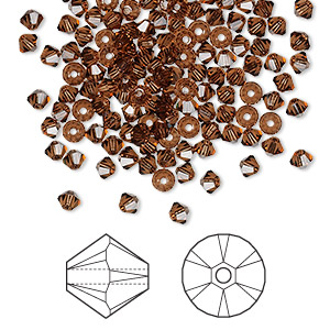 bead, swarovski crystals, crystal passions, smoked topaz, 3mm xilion bicone (5328). sold per pkg of 48.