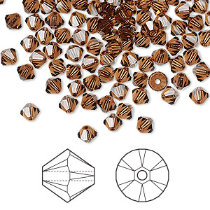 bead, swarovski crystals, crystal passions, smoked topaz, 4mm xilion bicone (5328). sold per pkg of 48.
