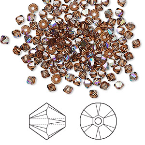 bead, swarovski crystals, crystal passions, smoked topaz ab, 3mm xilion bicone (5328). sold per pkg of 144 (1 gross).