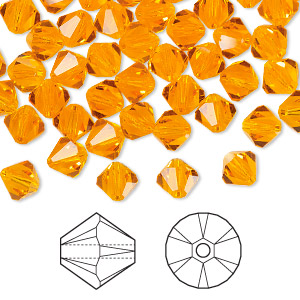 bead, swarovski crystals, crystal passions, sun, 6mm faceted bicone (5301). sold per pkg of 144 (1 gross).