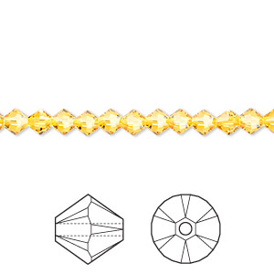 bead, swarovski crystals, crystal passions, sunflower, 4mm xilion bicone (5328). sold per pkg of 48.