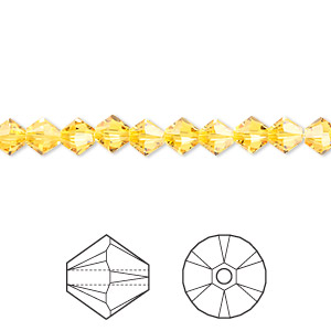 bead, swarovski crystals, crystal passions, sunflower, 5mm xilion bicone (5328). sold per pkg of 720 (5 gross).