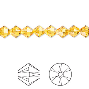 bead, swarovski crystals, crystal passions, sunflower, 6mm xilion bicone (5328). sold per pkg of 24.