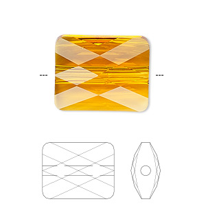 bead, swarovski crystals, crystal passions, tangerine, 10x8mm faceted mini rectangle (5055). sold per pkg of 2.
