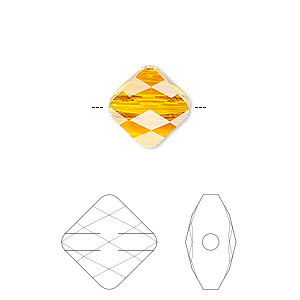bead, swarovski crystals, crystal passions, tangerine, 6x6mm faceted mini rhombus (5054). sold per pkg of 2.