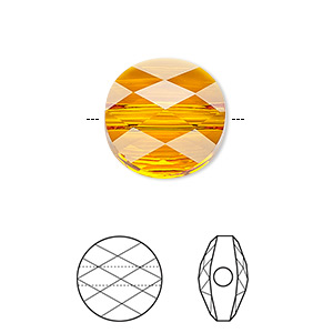 bead, swarovski crystals, crystal passions, tangerine, 8mm faceted mini round (5052). sold per pkg of 2.