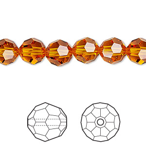 bead, swarovski crystals, crystal passions, tangerine, 8mm faceted round (5000). sold per pkg of 12.
