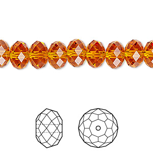 bead, swarovski crystals, crystal passions, tangerine, 8x6mm faceted rondelle (5040). sold per pkg of 144 (1 gross).