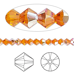 bead, swarovski crystals, crystal passions, tangerine ab, 4mm xilion bicone (5328). sold per pkg of 144 (1 gross).