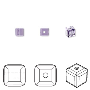 bead, swarovski crystals, crystal passions, tanzanite, 4x4mm faceted cube (5601). sold per pkg of 48.