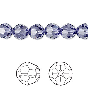 bead, swarovski crystals, crystal passions, tanzanite, 8mm faceted round (5000). sold per pkg of 12.
