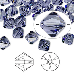 bead, swarovski crystals, crystal passions, tanzanite, 8mm xilion bicone (5328). sold per pkg of 12.