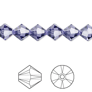 bead, swarovski crystals, crystal passions, tanzanite, 8mm xilion bicone (5328). sold per pkg of 72.