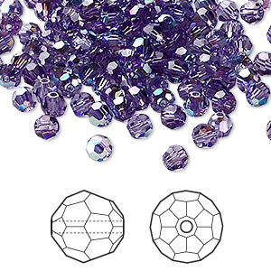 bead, swarovski crystals, crystal passions, tanzanite ab, 4mm faceted round (5000). sold per pkg of 144 (1 gross).