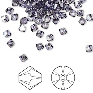 bead, swarovski crystals, crystal passions, tanzanite satin, 4mm xilion bicone (5328). sold per pkg of 144 (1 gross).