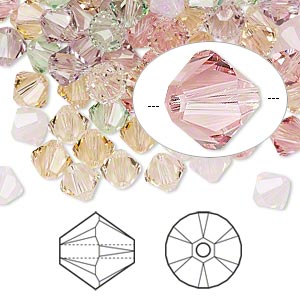 bead, swarovski crystals, crystal passions, tenderness, 6mm xilion bicone (5328). sold per pkg of 24.