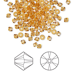 bead, swarovski crystals, crystal passions, topaz, 3mm xilion bicone (5328). sold per pkg of 48.