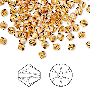 bead, swarovski crystals, crystal passions, topaz, 4mm xilion bicone (5328). sold per pkg of 144 (1 gross).