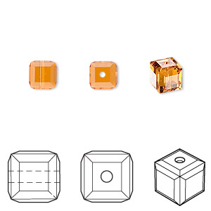 bead, swarovski crystals, crystal passions, topaz, 6x6mm faceted cube (5601). sold per pkg of 6.