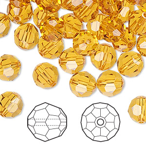 bead, swarovski crystals, crystal passions, topaz, 8mm faceted round (5000). sold per pkg of 144 (1 gross).