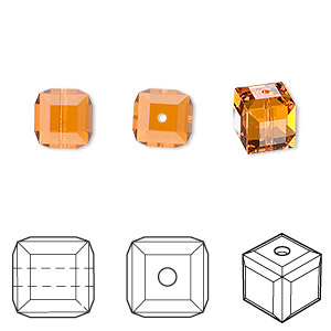 bead, swarovski crystals, crystal passions, topaz, 8x8mm faceted cube (5601). sold per pkg of 6.