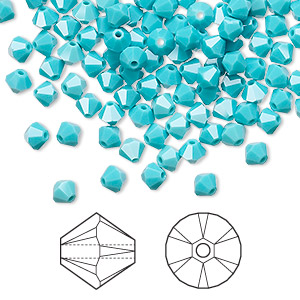 bead, swarovski crystals, crystal passions, turquoise, 4mm xilion bicone (5328). sold per pkg of 48.