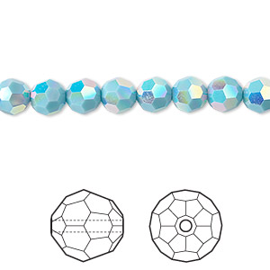 bead, swarovski crystals, crystal passions, turquoise ab2x, 6mm faceted round (5000). sold per pkg of 12.