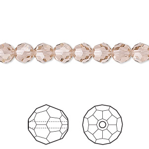 bead, swarovski crystals, crystal passions, vintage rose, 6mm faceted round (5000). sold per pkg of 144 (1 gross).
