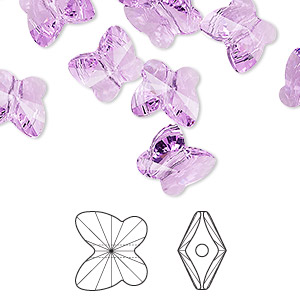 bead, swarovski crystals, crystal passions, violet, 10x9mm faceted butterfly (5754). sold per pkg of 12.