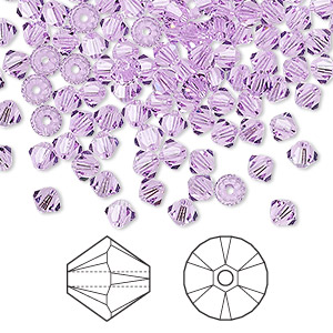 bead, swarovski crystals, crystal passions, violet, 4mm xilion bicone (5328). sold per pkg of 144 (1 gross).