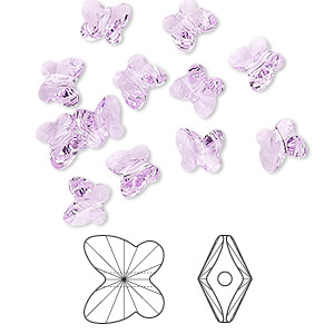 bead, swarovski crystals, crystal passions, violet, 6x5mm faceted butterfly (5754). sold per pkg of 12.