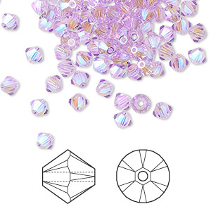 bead, swarovski crystals, crystal passions, violet ab2x, 4mm xilion bicone (5328). sold per pkg of 144 (1 gross).