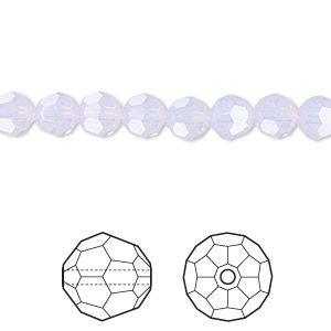 bead, swarovski crystals, crystal passions, violet opal, 6mm faceted round (5000). sold per pkg of 12.