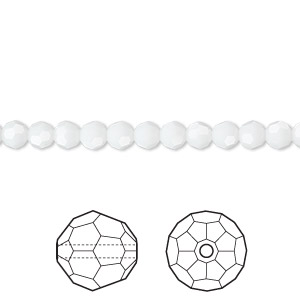bead, swarovski crystals, crystal passions, white alabaster, 4mm faceted round (5000). sold per pkg of 12.