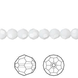 bead, swarovski crystals, crystal passions, white alabaster, 6mm faceted round (5000). sold per pkg of 12.