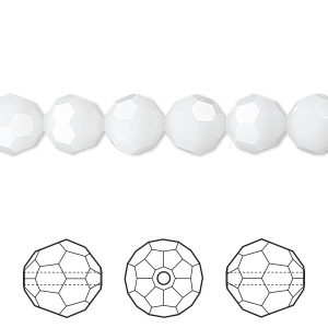 bead, swarovski crystals, crystal passions, white alabaster, 8mm faceted round (5000). sold per pkg of 144 (1 gross).